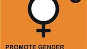 Logo del terzo degli Obiettivi ONU di Sviluppo del Millennio, Promuovere l'equità di genere e rafforzare il ruolo della donna; raffigura il simbolo di venere stilizzato su sfondo arancione.
