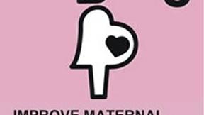 Logo del quinto degli Obiettivi ONU di Sviluppo del Millennio, Migliorare la salute riproduttiva; rappresenta la figura di una donna incinta stilizzata sfondo rosa.