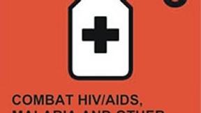 Logo del sesto degli Obiettivi ONU di Sviluppo del Millennio, Combattere l'AIDS, la malaria e le altre epidemie; raffigura un contenitore di medicine stilizzato su sfondo rosso.
