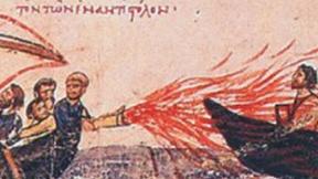 Uso del fuoco greco in una miniatura medioevale