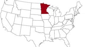 Il Minnesota evidenziato nella mappa degli Stati Uniti