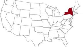 New York evidenziato nella mappa degli Stati Uniti