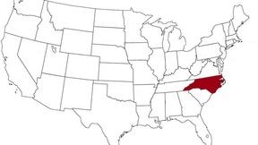 Il North Carolina evidenziato nella mappa degli Stati Uniti