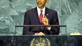President of the United States Barack Obama speaks to the General Assembly of the United Nations during a debate, 2009