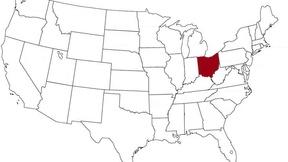 L'Ohio evidenziato nella mappa degli Stati Uniti