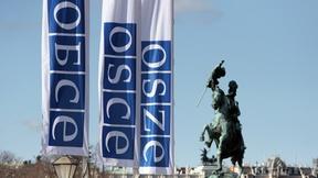 Bandiere contenenti il logo dell'OSCE in russo, inglese e tedesco di fronte al Palazzo dell'Hofburg a Vienna