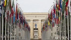 "The flags of the 193 UN Member States fly at the Palais des Nations, seat of the UN Office at Geneva, after completion of the renovation of the entrance path to the Palais, known as ""Allée des drapeaux"" (meaning ""Flags Way"")."