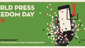 Banner del sito per la Giornata mondiale della libertà di stampa