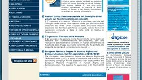 """Homepage della precedente versione del sito web """"Archivio Pace Diritti Umani"""", in linea fino al 2009"""