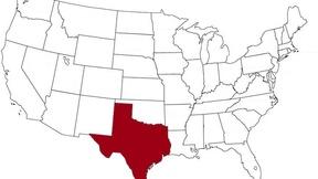 Il Texas evidenziato nella mappa degli Stati Uniti