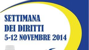 Logo giallo e blu su sfondo bianco, scritta settimana dei diritti 5-12 novembre 2014 con altri tre loghi: Presidenza italiana del Consiglio dell'Unione Europea, Presidenza del consiglio dei ministri- ufficio pari opportunità, Ufficio nazionale antidiscriminazioni razziali