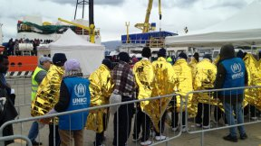 UNHCR staff receive survivors at the dock of the Sicilian port of Messina, Sicily