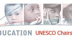 "The Logo of UNESCO: Written below ""Education UNESCO Chair UNITWIN Networks."""