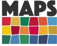 """Logo del progetto """"MAPS Itinerari artistici per comprendere il futuro"""", realizzato dall'Associazione Diritti Umani - Sviluppo Umano in partnership con l'Università di Padova"""