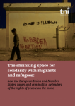 """Transnational Institute, cover of the report """"The shrinking space for solidarity with migrants and refugees:How the European Union and Member States target and criminalize defenders of the rights of people on the move"""""""