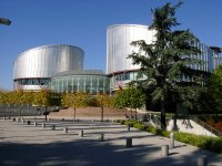 Panoramic photo of the building headquarters of the European Court of Human Rights, Strasbourg, France.
