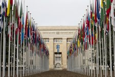 """The flags of the 193 UN Member States fly at the Palais des Nations, seat of the UN Office at Geneva, after completion of the renovation of the entrance path to the Palais, known as """"Allée des drapeaux"""" (meaning """"Flags Way"""")."""